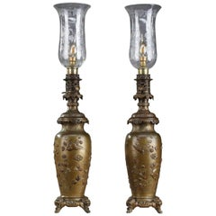 Antique Kerosene Lamps with Birds and Floral Decor in Chinese Style