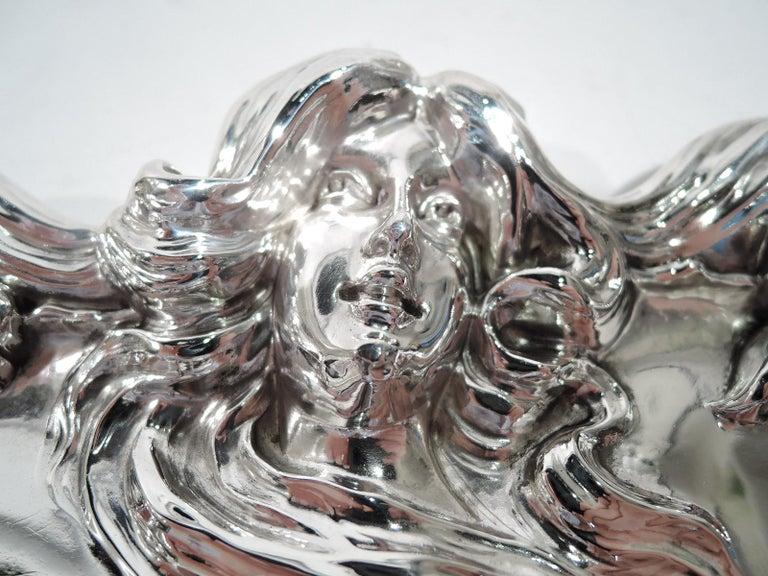 North American Antique Kerr American Art Nouveau Sterling Silver Flower-Woman Dish
