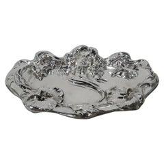 Antique Kerr American Art Nouveau Sterling Silver Flower-Woman Dish