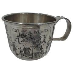 Antique Kerr Edwardian Sterling Silver Nursery Rhyme Baby Cup