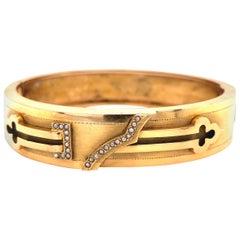 Antique Key Design Seed Pearls Gold Bangle Bracelet Estate Fine Jewelry