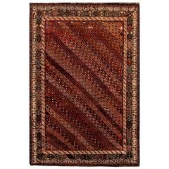 Antique Khamseh South Persian Carmine, White and Black Handmade Wool Rug