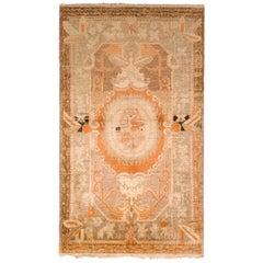Antique Khotan Geometric-Floral Beige-Brown and Orange Wool Rug