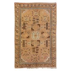 Antique Khotan Handmade Geometric Tan Wool Rug