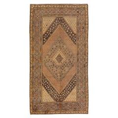 Antique Khotan Handmade Tan Medallion Wool Rug