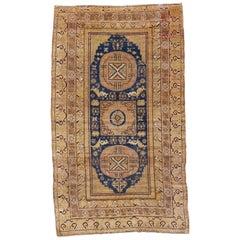Antique Khotan Main Rug with Mandala and Moon Shaped Roundels