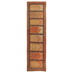 Antique Khotan Pink and Blue Wool Runner
