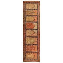 Antique Khotan Pink and Blue Wool Runner Geometric Pattern