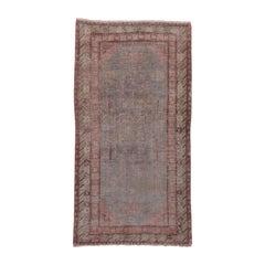 Antique Khotan Rug, Light Gray Field, Pink Borders, Lighly Distressed