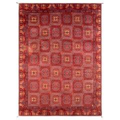 Antique Spanish Rug Khotan Design Geometric Red and Blue Medallion Pattern