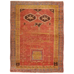 Antique Khotan Traditional Geometric Red and Golden Yellow Wool Rug