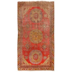 Antique Khotan Traditional Red and Yellow Wool Rug with Medallion Style Floral