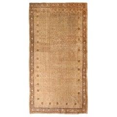 Antique Khotan Transitional Beige and Tan Wool Rug
