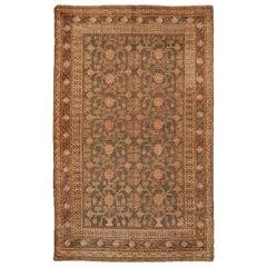 Antique Khotan Transitional Green and Peach Wool Rug