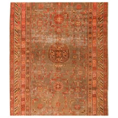 Antique Khotan Transitional Red and Beige Wool Rug with Geometric Floral Accents