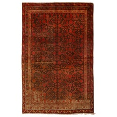 Antique Khotan Transitional Red and Brown Wool Rug