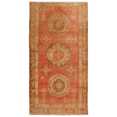 Antique Khotan Wool Rug in Red and Beige Geometric Pattern