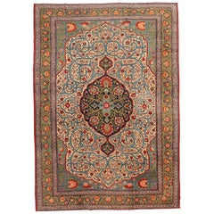 Antique Khoy Persian Carpet in Blue, Red and Green, circa 1920