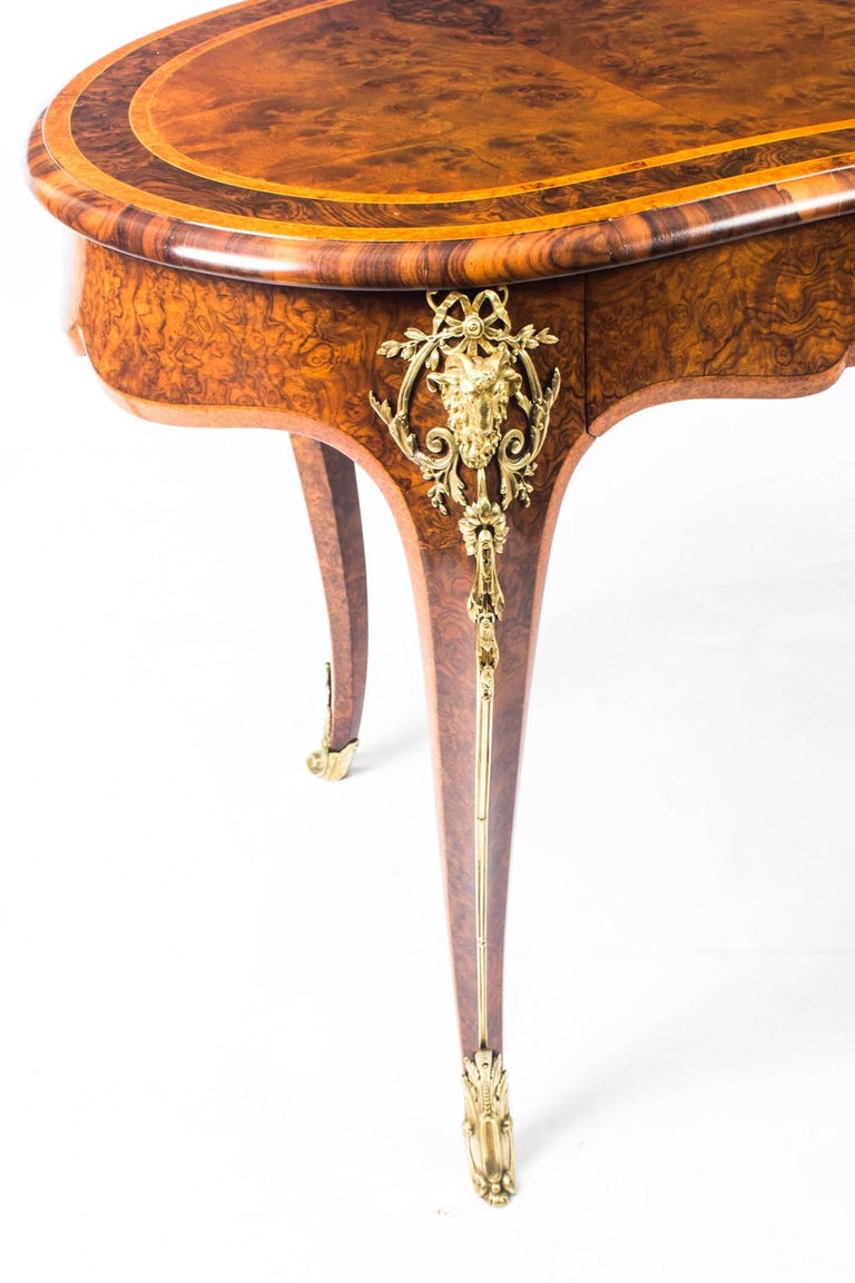 Antique Kidney Writing Table Desk Bureau Plat by Gillow, 19th Century For Sale 1