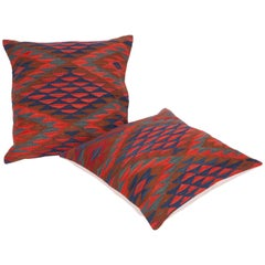 Antique Kilim Pillow Cases Fashioned from a Late 19th Century Sharkoy Kilim