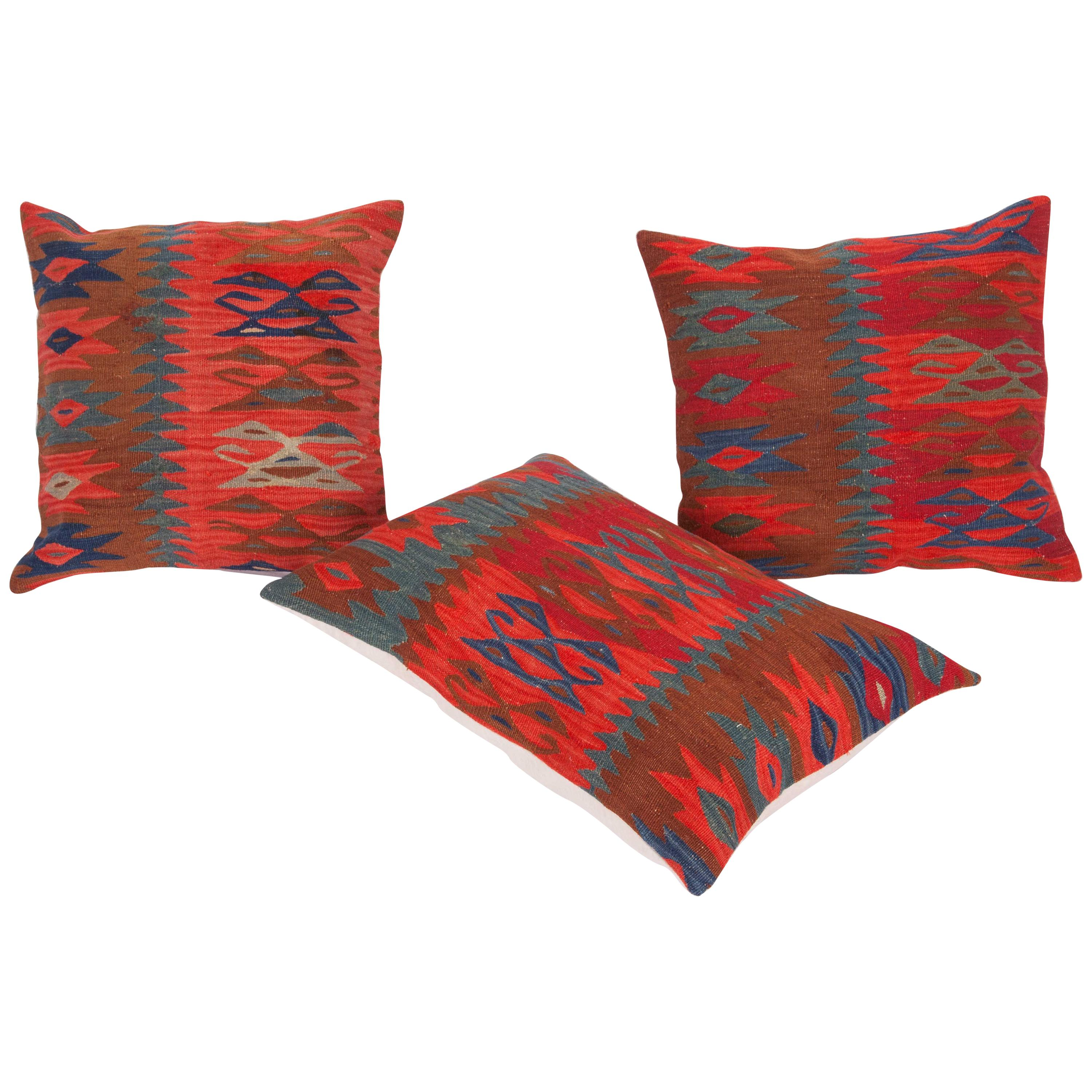 Antique Kilim Pillow Cases Fashioned from a Late 19th Century, Sharkoy Kilim