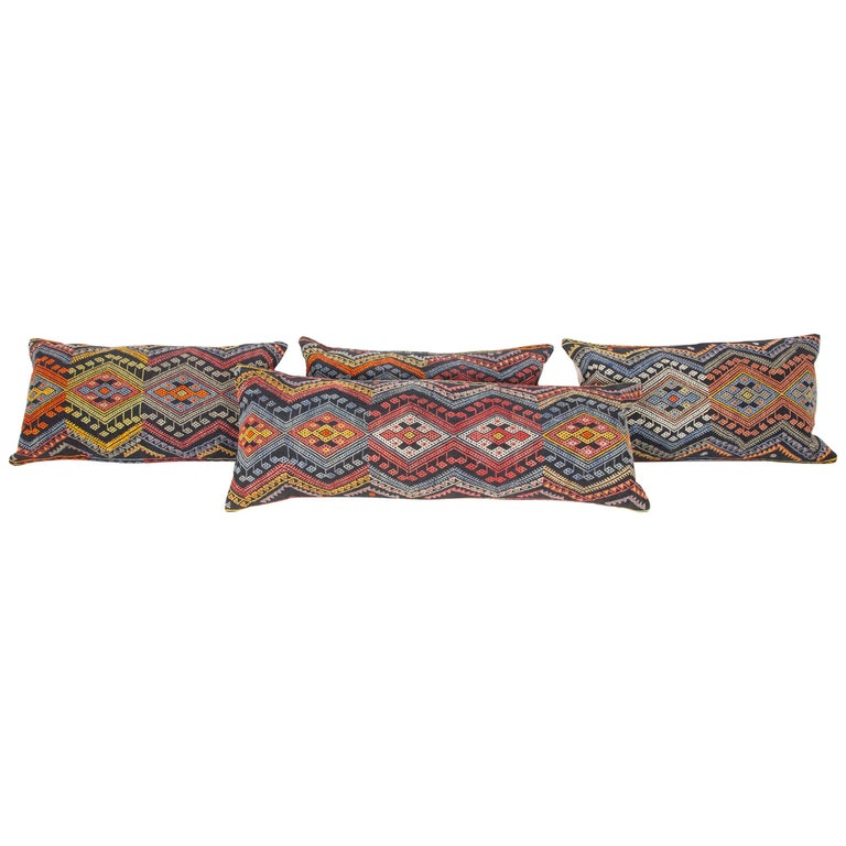 Antique Kilim Pillow Cases Made from a Late 19th Century Anatolian Cicim Kilim For Sale