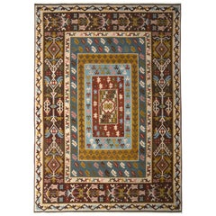 Antique Kilim Rug Blue and Beige Brown All-Over Geometric Pattern