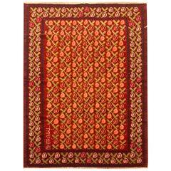 Antique Kilim Rugs Armenian Handmade Floral Kilim Red Wool Rug