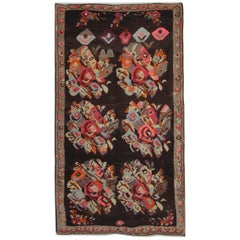 Floral Antique Kilim Rug, Handmade and Hand-Woven in Karaganda