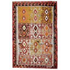 Antique Kilim Rugs, Traditional Oriental Rugs, Turkish Handmade Carpet