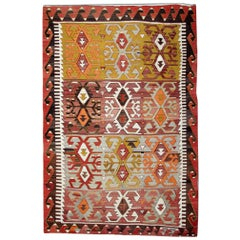 Antique Kilim Rugs, Traditional Oriental Rugs, Turkish Handmade Carpet for Sale