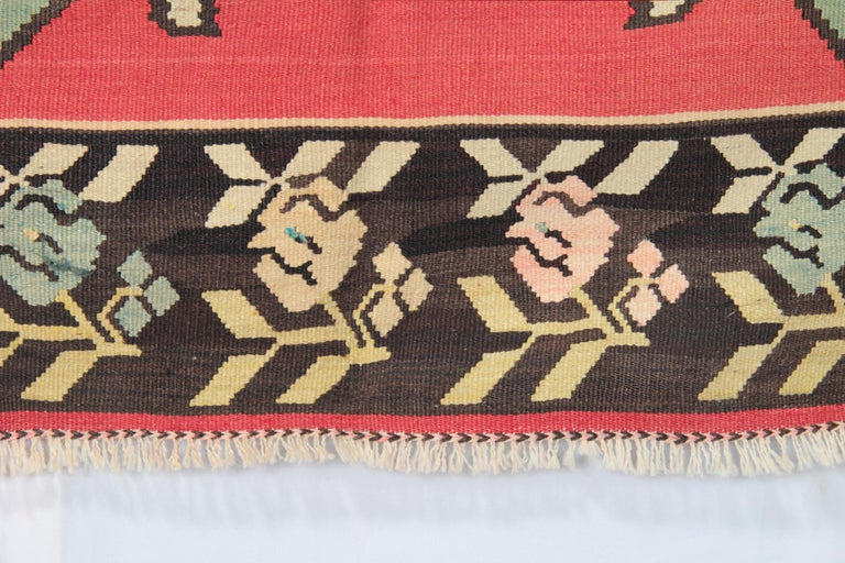 Vegetable Dyed Primitive Antique Kilim Rugs, Traditional Red Rugs, Turkish Carpet from Anatolia For Sale