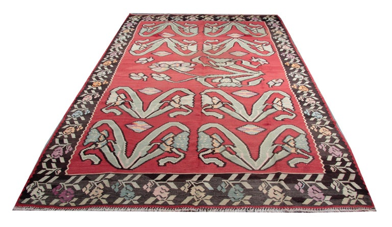 Primitive Antique Kilim Rugs, Traditional Red Rugs, Turkish Carpet from Anatolia In Excellent Condition For Sale In Hampshire, SO51 8BY