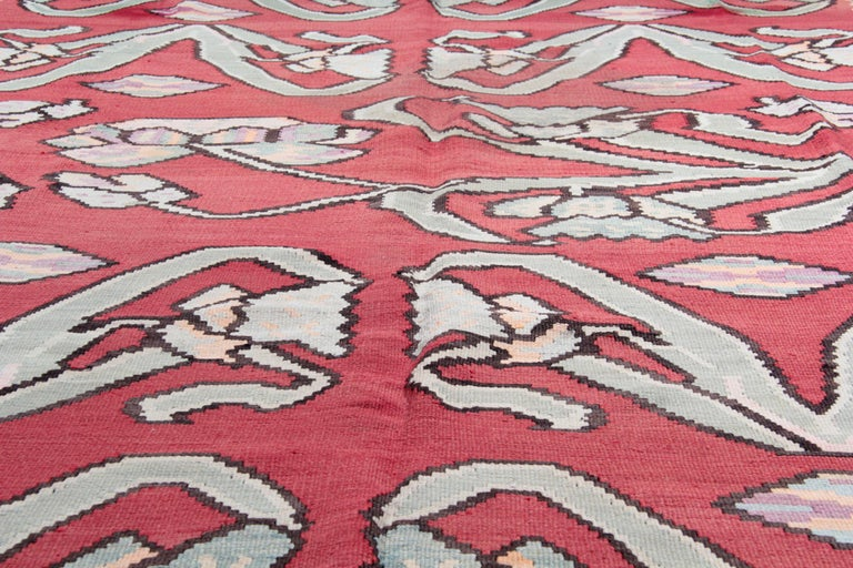 Mid-20th Century Primitive Antique Kilim Rugs, Traditional Red Rugs, Turkish Carpet from Anatolia For Sale