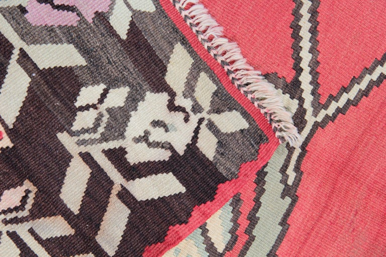 Wool Primitive Antique Kilim Rugs, Traditional Red Rugs, Turkish Carpet from Anatolia For Sale