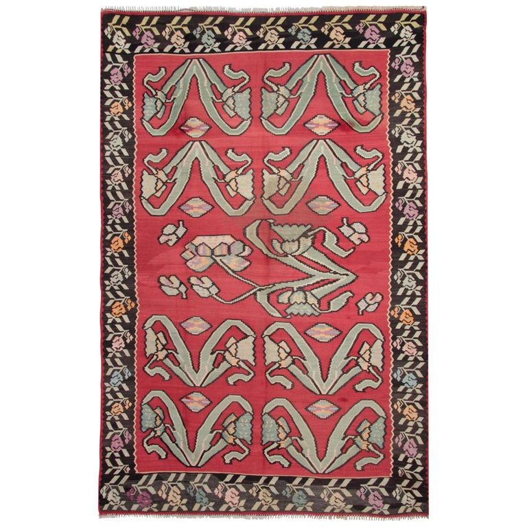Primitive Antique Kilim Rugs, Traditional Red Rugs, Turkish Carpet from Anatolia For Sale
