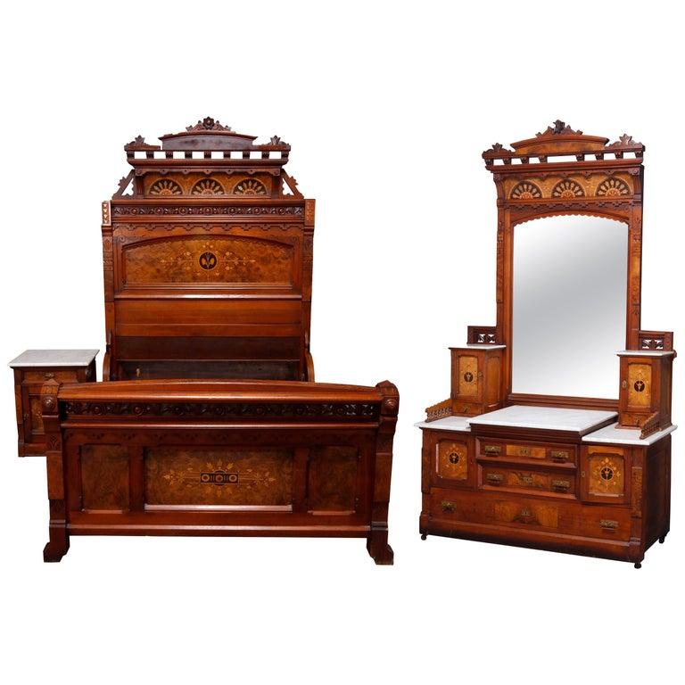Antique Kimbel & Cabus Carved Walnut, Burl and Marquetry Bedroom Suit