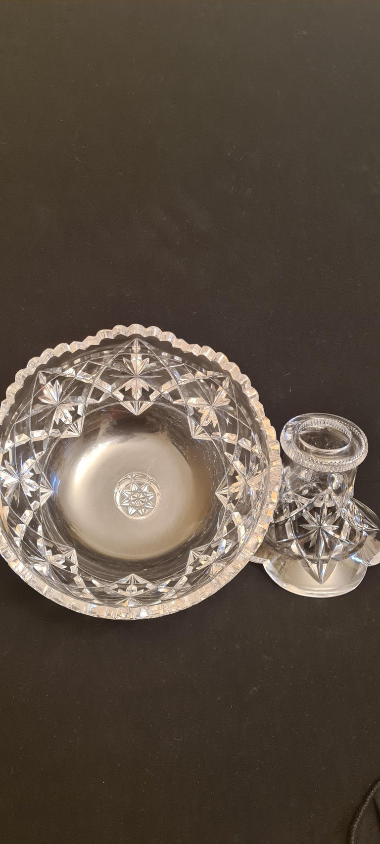 Antique Kings Pattern Cut Crystal Punch Bowl by Hawkes For Sale 5