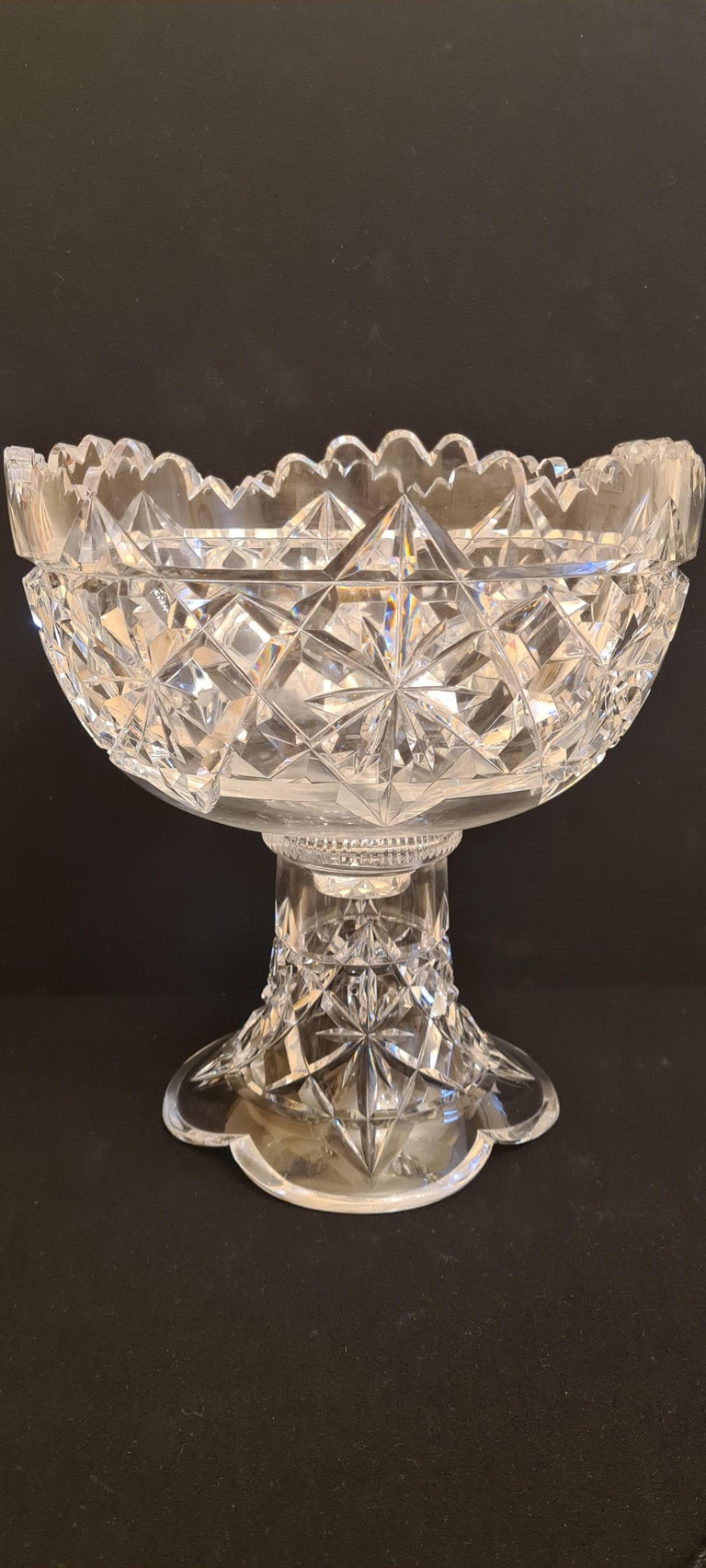 Antique Kings Pattern Cut Crystal Punch Bowl by Hawkes For Sale 6