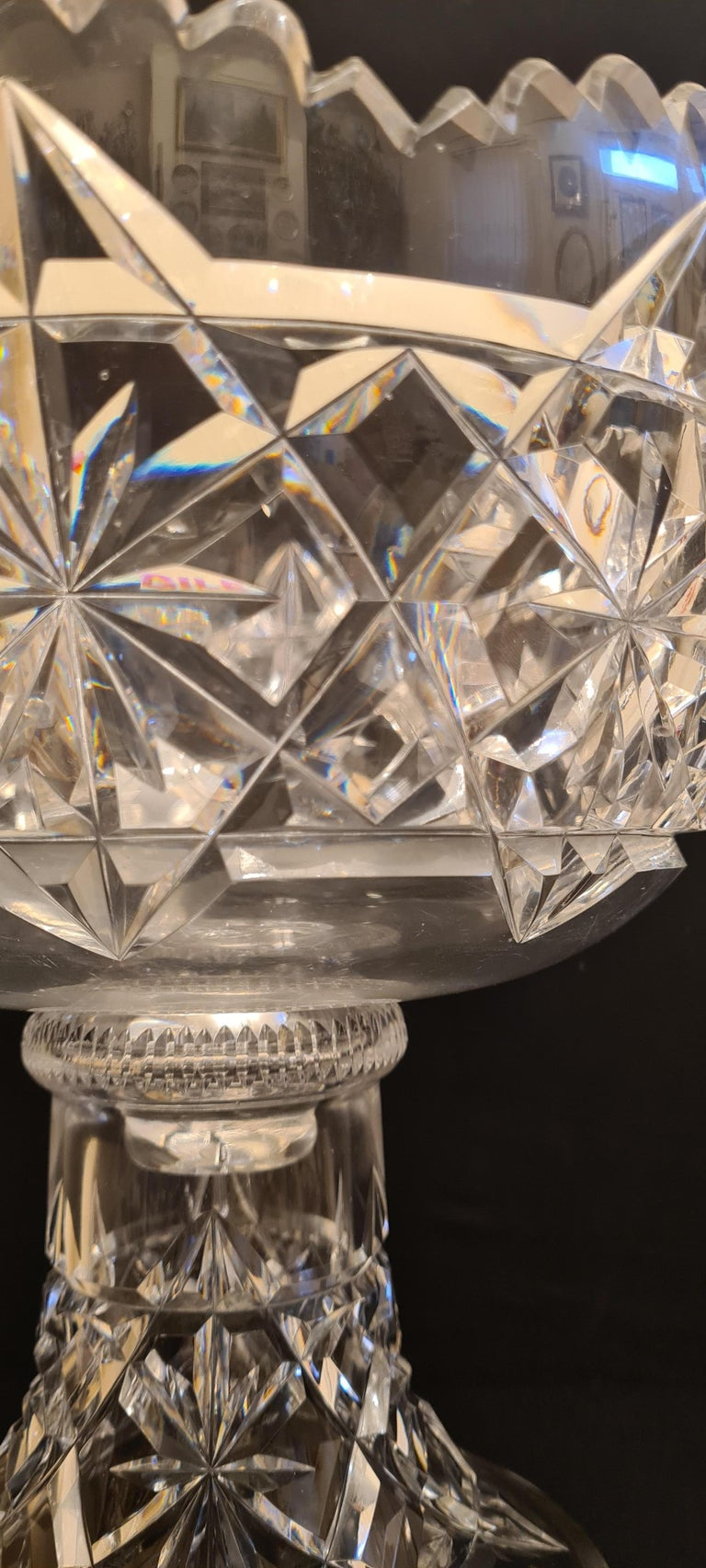 American Antique Kings Pattern Cut Crystal Punch Bowl by Hawkes For Sale