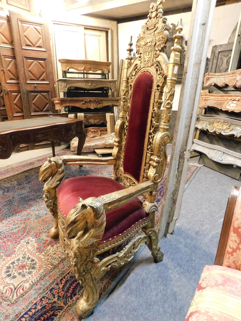 Antique King S Throne Armchair Gilded With Perfect Red