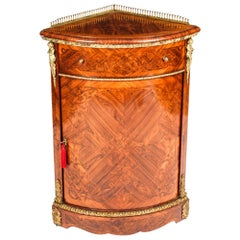 Antique Kingwood and Marquetry Low Corner Cabinet, 19th Century