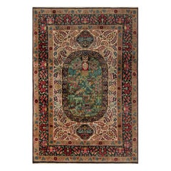 Antique Kirman Floral  Blue, Green, Pink, Red & White Handwoven Wool Rug