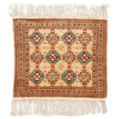 Antique Kirsehir Geometric Red and Gold Wool Rug with Open Field Design