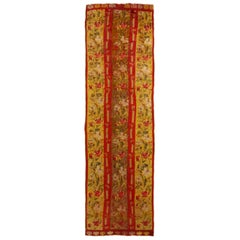 Antique Kirsehir Red and Gold Wool Floral Runner