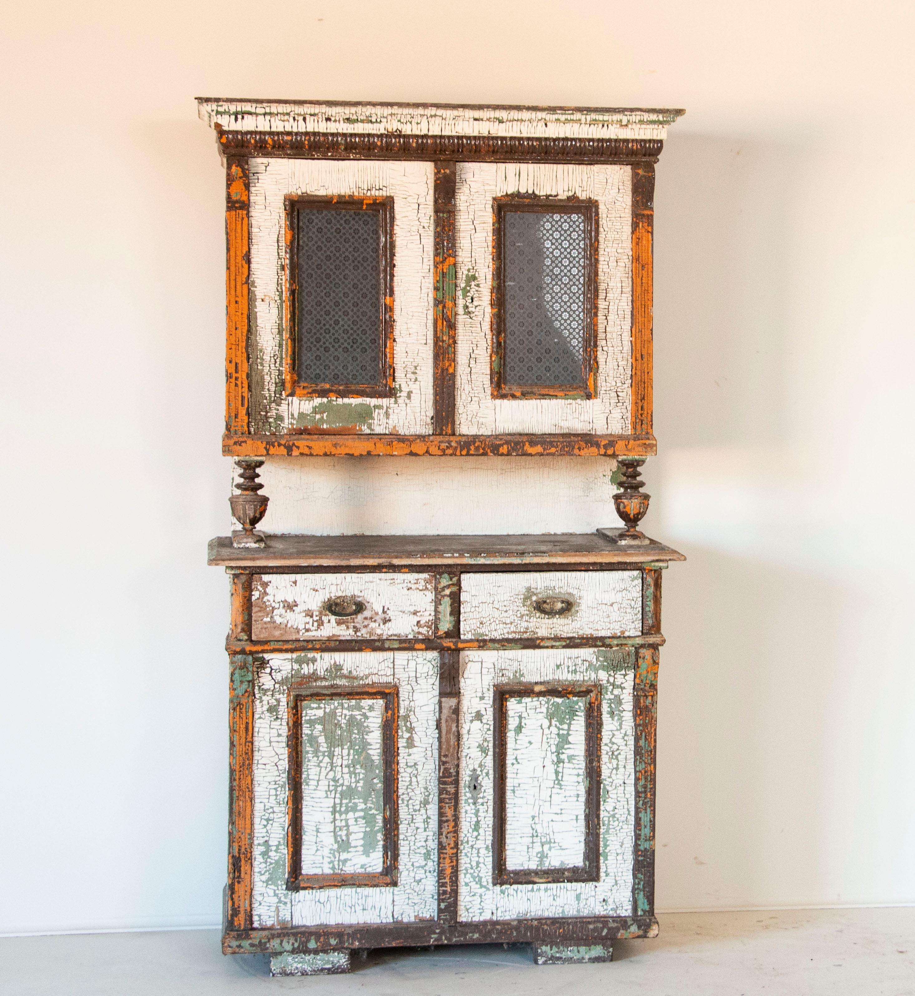 Antique Kitchen Cabinet Cupboard White Original White Crackled Paint