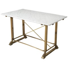 Antique Kitchen Island in Solid Bronze with a New Honed Carrara Marble Top