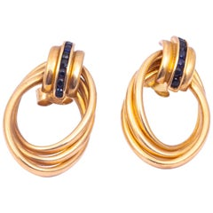 Antique Knot Detail Sapphire and 9 Carat Gold Stud Earrings