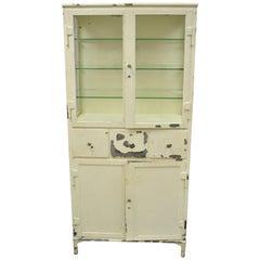 Antique Kny Scheerer Steel Metal Glass Medical Dental Pharmacy Cabinet