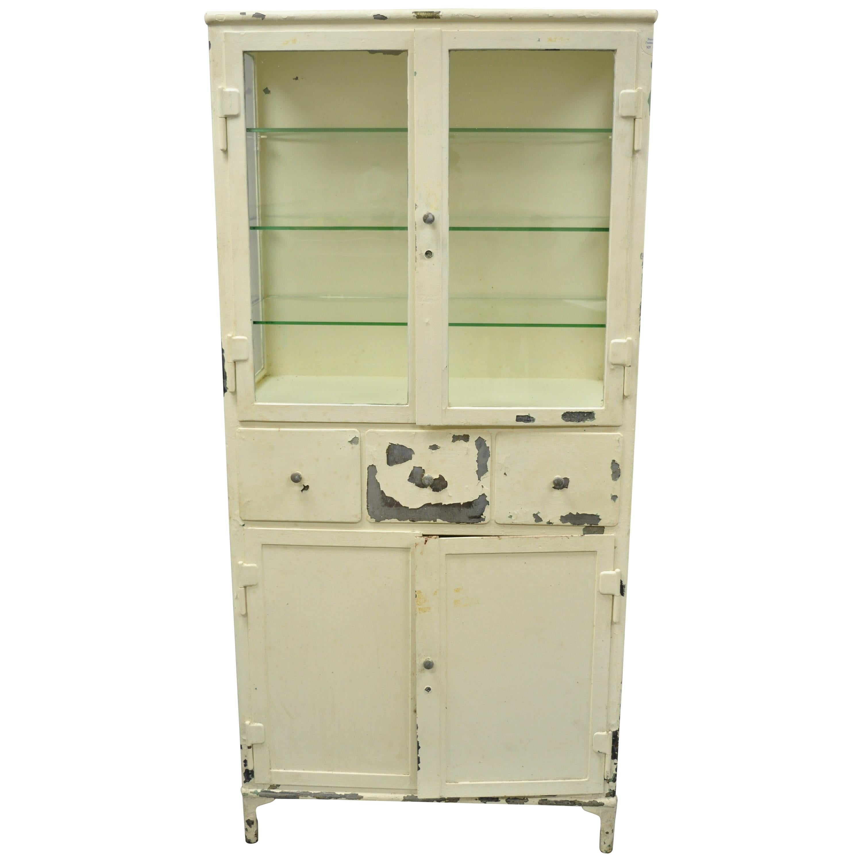 Ordinaire Antique Kny Scheerer Steel Metal Glass Medical Dental Pharmacy Cabinet